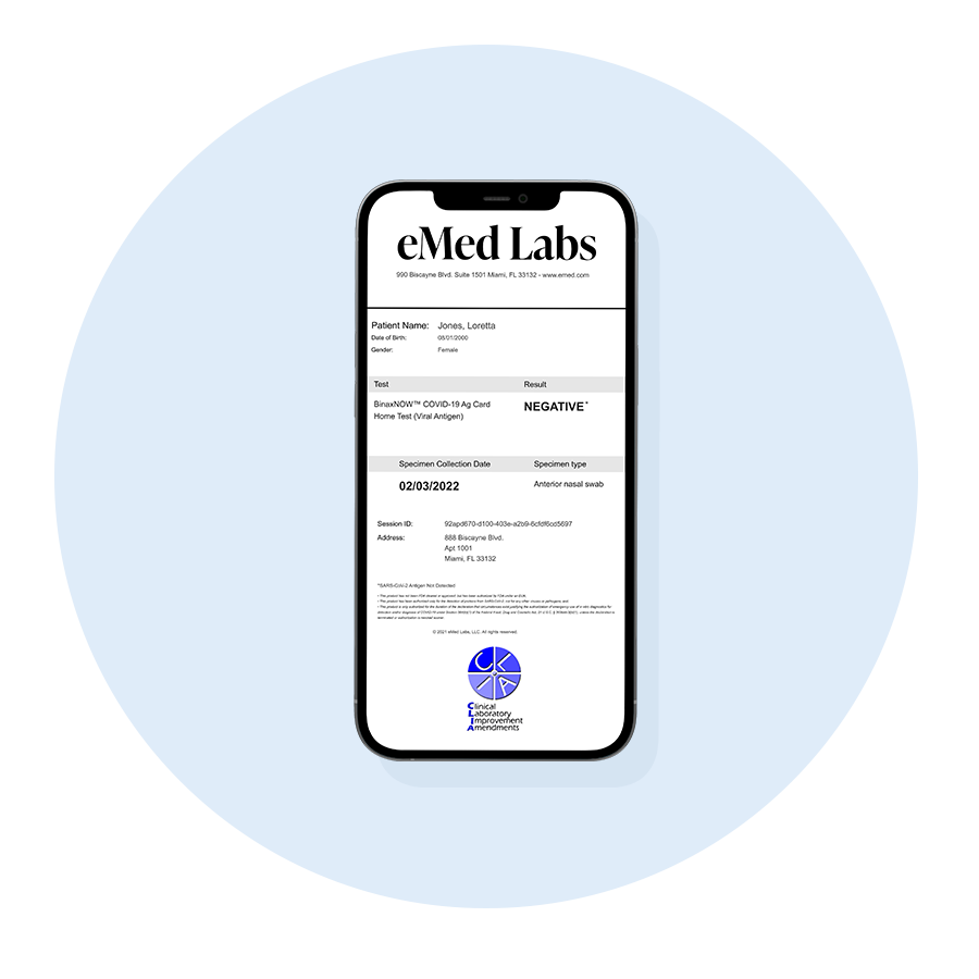 Receive an eMed Lab Report with your test result. (optional test result available in the NAVICA™ app.)